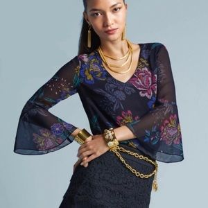 CAbi | Floral Bell Sleeve Olivia Top